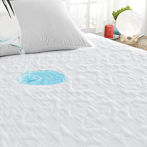 "PUREDREAM Premium Cooling Bamboo Waterproof King Size Mattress Pad Protector Cover, 3D Air Fabric Ultra Soft Breathable Noiseless,18 Inch Deep Pocket Fitted 8""-21"" Deep Pocket"