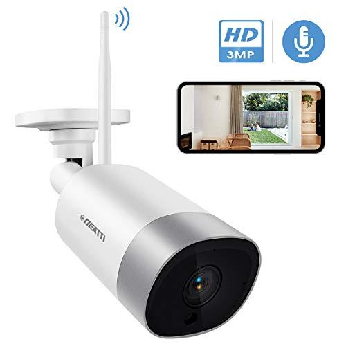 DEATTI WLAN IP Kamera Outdoor,Überwachungskamera 3.0MP HD WiFi Kamera für Aussen, IP66 wasserdichte mit Nachtsicht,Zwei Wege Audio,Fernzugriff und Bewegungserkennung,Weiß