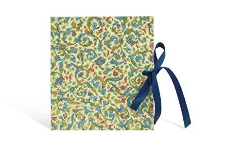 kleines Tagebuch mit Schleife, Vintage-Buch blanko, blaues Blumenmuster und Golddruck, 15 x 16,5 cm, 50 Blatt, Reisetagebuch quadratisch, schönes handgebundenes Poesiealbum zum selbst gestalten