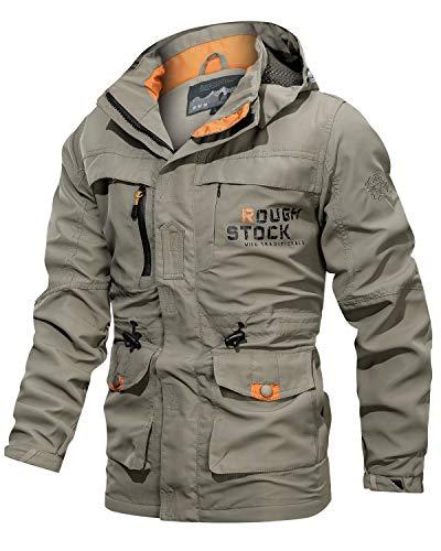 Uusollecy Herren Übergangsjacke mit Abnehmbar Hood Mittlere Länge Militär Jacke Stehkragen Army Parka Windbreaker Cargo Jacke