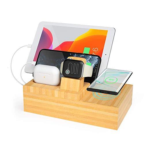 LAHappy Cargador Inalámbrico Rápido, Cargador Rápido Inducción para iPhone 12/12 Mini/12 Pro Max/11/11pro/X/Xs/8, 5 en 1 Soporte de Carga de Madera Multifuncional para Apple Watch AirPods