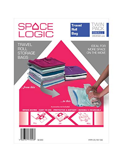 SPACE LOGIC Travel ROLL Storage Bags - Twin Pack Small 30x50cm