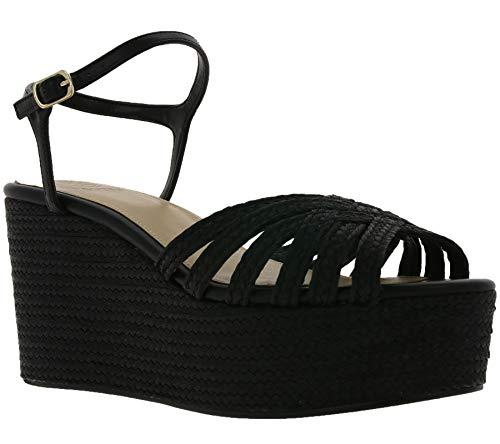Guess Schuhe Keilabsatz-Pantolette modische Damen Sandale Sandalette Sommer-Schuhe in Glitter-Optik Schwarz, Größe:38