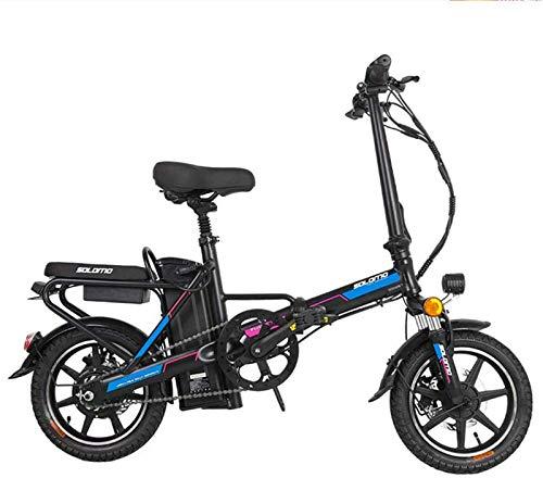 Bicicleta de montaña eléctrica de nieve, bicicleta eléctrica para adultos, bicicletas plegables e con batería extraíble de iones de litio de gran capacidad (color azul)