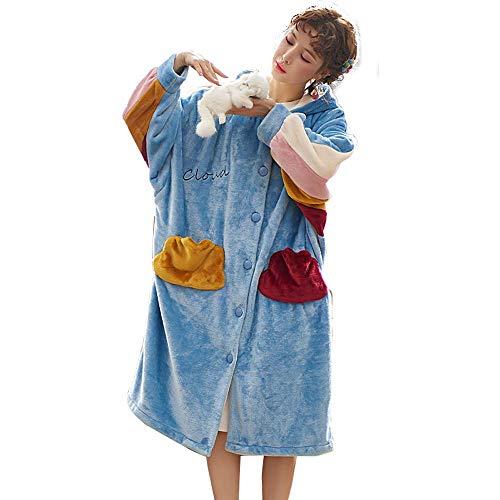 Tokyia Mantener caliente Las mujeres la noche del invierno ocio de las vacaciones largas de la ropa Sleevethicken caliente camisón de la franela for mujeres dormir pueden ser usados fuera de Homewea