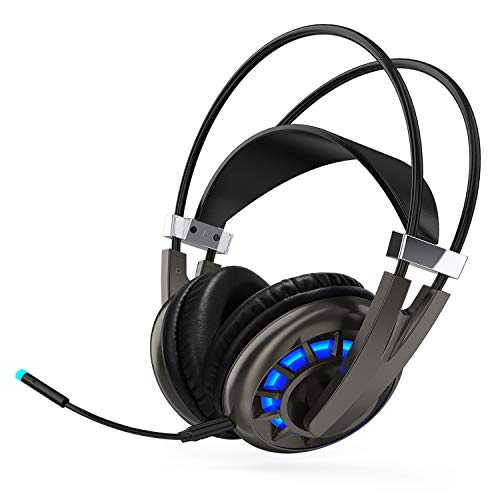 Wireless Gaming Headset, Sopownic 7.1 Surround Sound Headphones with 2.4GHz Wireless Audio, LED Light and Mic, Compatible with PC, PS4 and Laptop