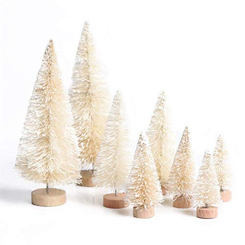 Home Holic White Christmas Tree Mini Xmas Fake Trees Artificial Table Top Stand Decoration Snowy Covered Pine Tiny Toy Gifts (8 Set White)