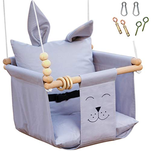 Baby Swing Outdoor Indoor Seat Set Include Mounting Hardwares, Safety Belt, Wooden Toys, Two Cushion - Grey Hanging Chair for Little Infant - Baby Room Nursery Decor Toddler Cloth Porch Swing Stand