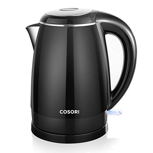 COSORI Electric (BPA Free) CO172-EK 1.8 Qt Double Wall 304 Stainless Steel Water Boiler, Coffee Pot & Tea Kettle, Auto Shut-Off and Boil-Dry Protection, Black