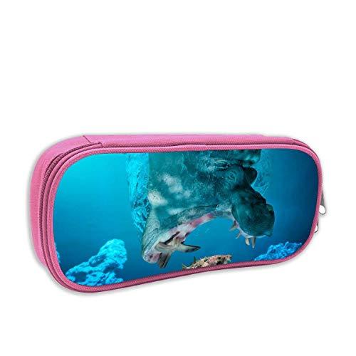 Lawenp Estuche para lápices con estampado Cool Hippopotamus Catch Fish Porta lápices...