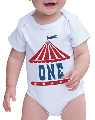 7 ate 9 Apparel Boy's Birthday Circus One Onepiece - White - 12-18 Months Onepiece