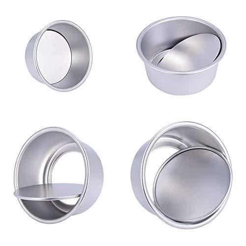4 Piezas Moldes para Pasteles, Antiadherentes Redondo Aluminio Anodizado Molde de Horno Tartas con Base Desmontable, para Cumpleaños, Festivales, Bodas, Fiestas