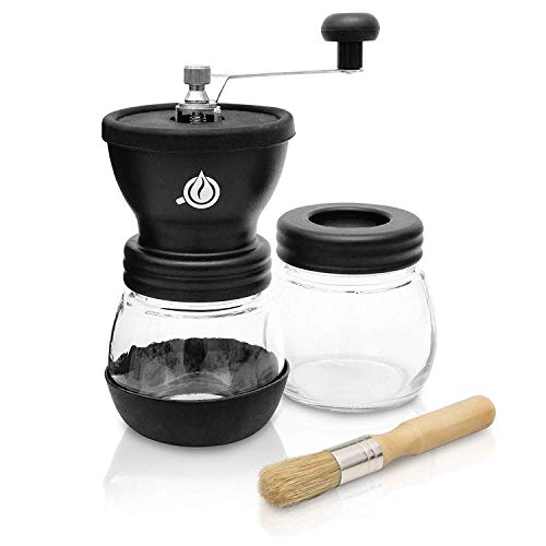 Black Drop Manuelle Kaffeemühle - Keramikmahlwerk und Extra-Behälter mit Pinsel - Einstellbare Premium Espresso Handmühle