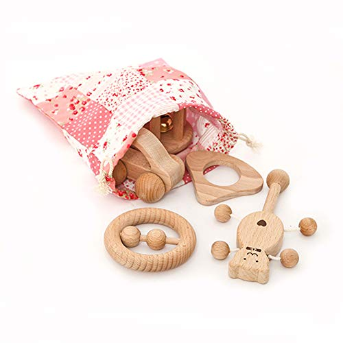 Best Buy! Alician Newborn Baby Pacify Toy Molar Rattle Set Solid Wood Toy Rattle Toy Five-Piece Girl