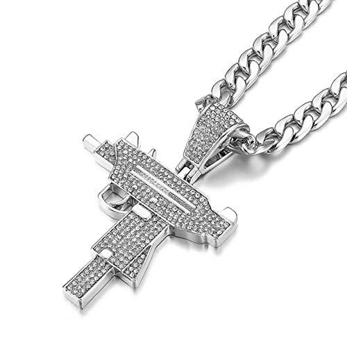 Submachine Gun Fashion Cuba Chain Pendant Men Iced out Crystal Gold/Silver Colour Charm Necklace Hip Hop Jewelry Cuban Necklace