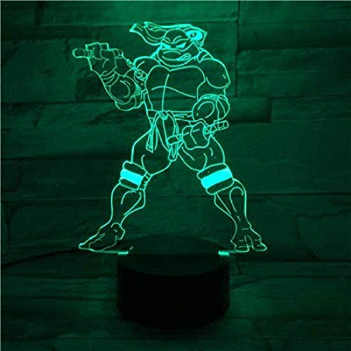 3D Night Light Garçons Filles Jouet Teenage Mutant Ninja Turtles Lampe de bureau Chevet Cartoon Touch Sensor