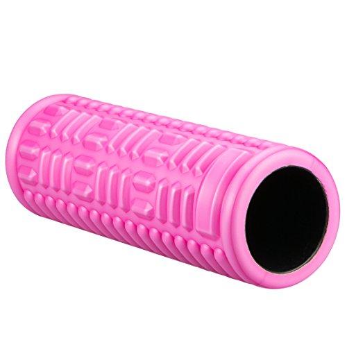 Ultrasport Rodillo de masaje para el automasaje sencillo y eficaz, ideal para yoga, pilates y fitness o para el uso como rodillo miofascial, tamaño: diámetro 14 cm, longitud 38 cm, con póster de entrenamiento, Rosa