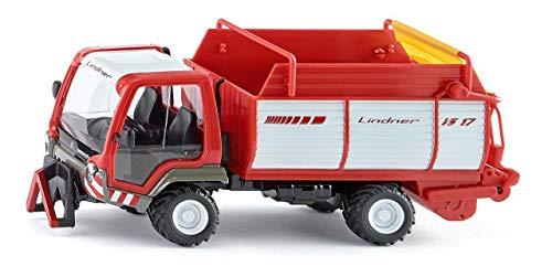 SIKU 3061, Lindner Unitrac mit Ladewagen, 1:32, Metall/Kunststoff, Rot, Multifunktionsfahrzeug