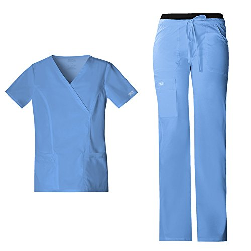 Cherokee Workwear Women's Core Stretch Mock Wrap Scrub Top 4728 Workwear Drawstring Flare Leg Scrub Pants 24001 Medical Scrub Set (Ciel - Small/XSmall Tall)