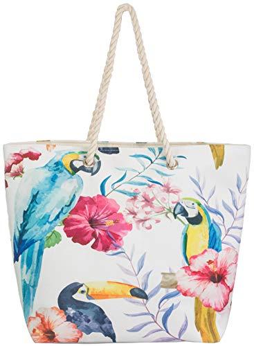 Brandsseller Bolso de playa para mujer, bolso de hombro de la compra, bolsa de verano, cierre de botón a presión, bolsillo interior, tamaño aprox. 50 x 38 x 15 cm, diseño 1