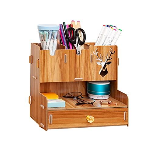 litulituhallo Portalápices organizador de escritorio para bolígrafos, madera de cerezo, 26,3 x 16,3 x 22,6 cm