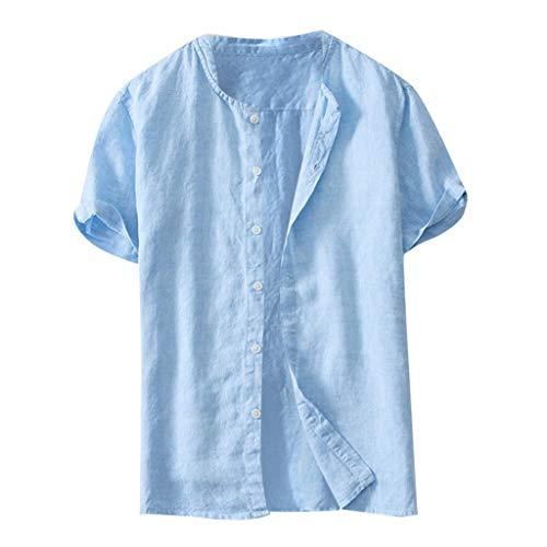 TWISFER Herren Leinenhemd Henley Freizeithemd Kurzarm Regular Fit Kragenloses Shirt Leinenhemd Henley Shirt Button-down Sommerhemd Herren Freizeithemden aus Leinen und Baumwolle