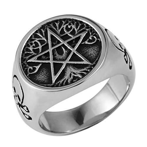 AsAlways Tree of Life Pentagram Ring Demon Devil Skull Men Stainless Steel Rings Vintage Jewelry