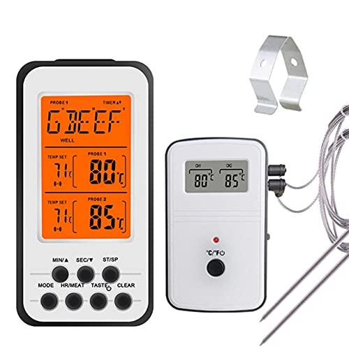YEZIB Digital Barbacoa Termómetro Cocina inalámbrica Horno Alimentos de cocción Grill Fumador Termómetro de Carne con sonda y Temporizador Alarma de Temperatura (Color : KN6008-2)