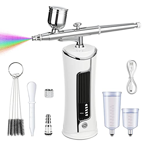 Fascinated Airbrush Kit, Portable Cordless Airbrush Gun with Compressor and Display, Handheld Rechargeable Air Brush Set for Makeup, Cake Decorating, Painting, Nail Art, Tattoo, Model Coloring (White)