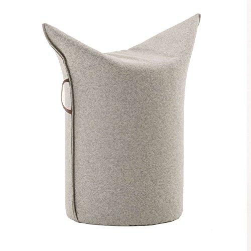 WERTHER Zipfelhocker Polsterhocker Sitzhocker Indoor Hellgrau inkl. Leder-Griffschlaufe 3 Jahre Garantie Sitzhöhe 500 mm B 620 x T 360 x H 600 mm