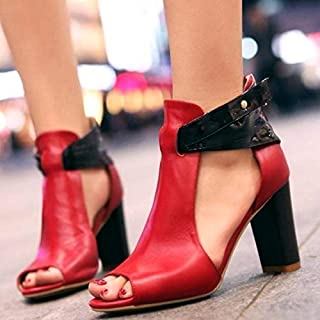 New Spring Summer Women Genuine Leather High Heel Sandals Ladies Sexy Peep Toe Platform Sandals Fashion Woman Chunky Heel Ankle Strap Shoes Plus Size(Apricot,EU 42)