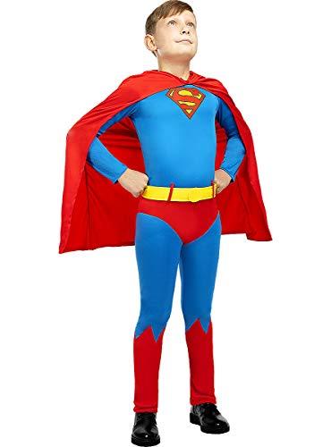 Funidelia | Disfraz Superman Oficial para niño Talla 10-12 años ▶ Hombre de Acero, Superhéroes, DC Comics, Justice League - Color: Azul - Licencia: 100% Oficial