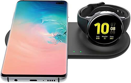 SPGUARD Qi Cargador Compatible con Samsung Galaxy Watch Teléfono Cargador Inalámbrico para Galaxy S21/S20/S10/Galaxy Z Flip/Note 20/10,Galaxy Watch 3,Active 2/1,Galaxy Buds(+,Pro,Live),Galaxy Bean