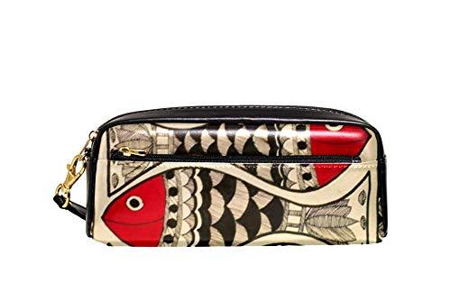 Arte de los peces patrón lápiz caso de cuero PU papelería bolsa caso escolar caja lápiz mujeres bolsa cosmética