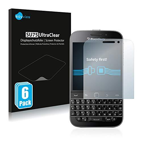 Savvies 6X Schutzfolie kompatibel mit BlackBerry Classic Q20 Bildschirmschutz-Folie Ultra-transparent