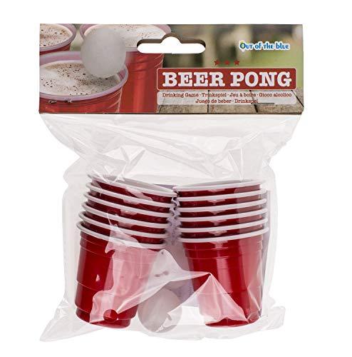 Out of the Blue 79/3933 - Trinkspiel Mini Beer Pong, mit 2 Bällen und 12 Trinkbechern, für ca. 60 ml