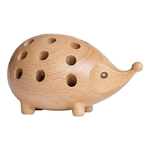 Soporte creativo de madera maciza para bolígrafos de erizo para oficina, escritorio, organizador de escritorio y oficina