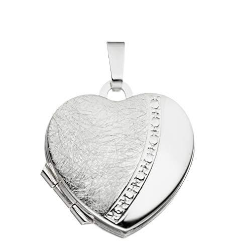 Medaillon Herz eismattiert teilmattiert verziert 925 Sterling Silber zum Öffnen für Bildereinlage 2 Fotos Amulett von Haus der Herzen® mit Schmuck-Etui