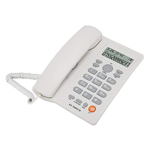 Dpofirs Teléfono Fijo con Cable Universal, Teléfono Fijo Residencial de Escritorio, Pantalla de Identificación de Llamadas, Reducción de Ruido, Llamadas Manos Libre, Adecuado para Casa, Hotel(Blanco)
