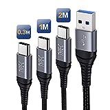 Bobeite Câble USB C Charge Rapide[Lot de 3, 0.3M+1M+2M],Cable USB Type C Chargeur Rapide Compatible...