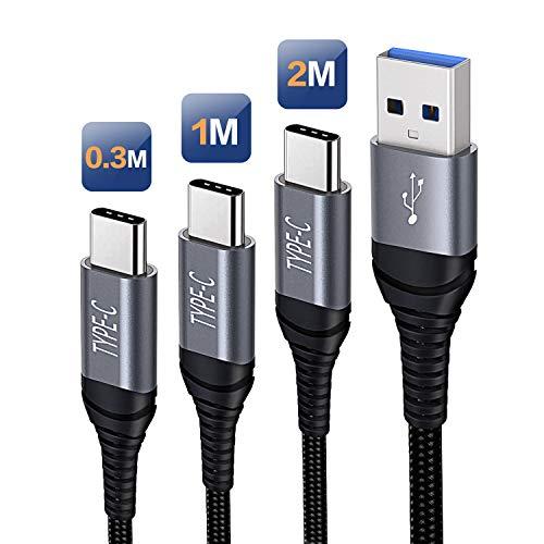 Cable USB C para Samsung Galaxy S20 Plus Ultra A51 A71 A80 A50 A70 A90 A20E A30S A30 A21 A31 A41 A81 A91 M20 M30S (nailon trenzado, 3 A) carga rápida/sincronización USB C a cable A 0,3 m, 1 m. M 2M.