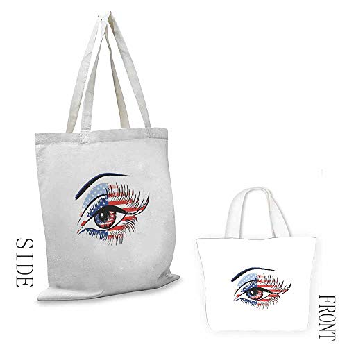 Eyelash Pattern Shopping Bag United States Flag Pattern Female Eye Stars and Stripes 4th of July Theme Great for Shopping W15.75 x L13.78 Inch Navy Blue Red Black