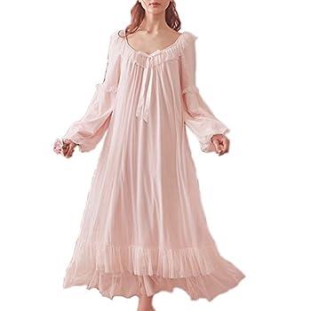 Women s Vintage Victorian Nightgown Long Sleeve Sheer Sleepwear Pajamas Lace Nightwear Lounge Dress  Large Pink