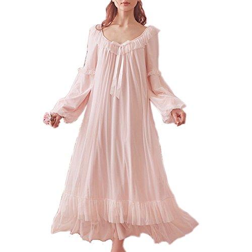 Damen Vintage Viktorianisches Nachthemd Langarm Sheer Nachtwäsche Schlafanzug Nachtwäsche Loungekleid - Pink - Large