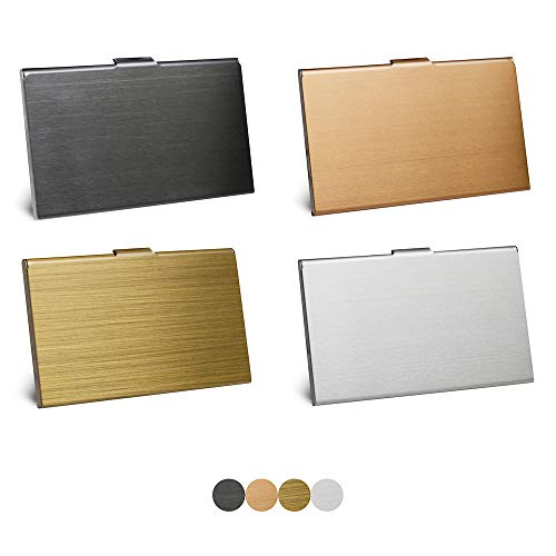 HOSTK - Estuche para tarjetas de visita (4 piezas, metal, acero inoxidable, bolsillo delgado, tarjetero, organizador de tarjetas de identificación profesional, para hombres y mujeres