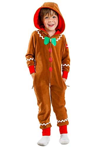 Boy's / Girl's Gingerbread Cozy Jumpsuit - Cute Cozy Kids PJs: M