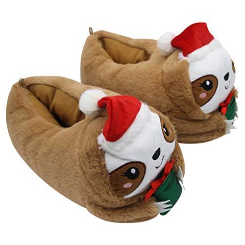 Happyyami Pantoufles Panda Géant Doux Animaux Confortables Polaire Maison en Peluche Chaussures Dintérieur Chaudes Pantoufles Antidérapantes Cadeaux de Noël 1 Paire S