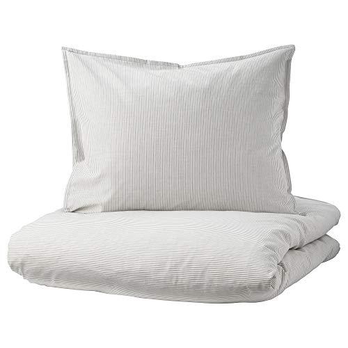 BERGPALM Funda nórdica y funda de almohada 150x200/50x60 cm gris/rayas