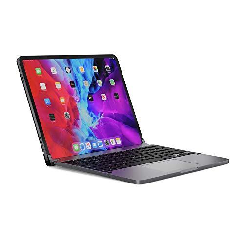 BRYDGE 12.9 Pro+, Hochwertige Bluetooth Tastatur aus Aluminium mit Trackpad, deutsches Layout QWERTZ, für das iPad Pro 12.9 (2018 & 2020), inklusive magnetischem iPad Cover, Space grau, BRYTP6022G