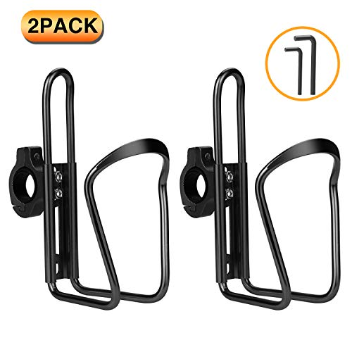 Yofidra Bike Water Bottle Holder - 2 Pack Lightweight & Adjustable Aluminum Alloy Water Bottle Cages for Outdoor Activities (Black 2 Pack)